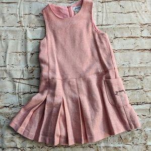 Jacadi pink wool blend pleated dress sz 6